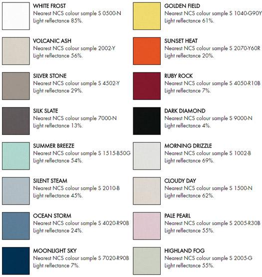 Ecophon akutex colour range palette