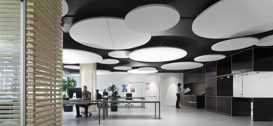 Ecophon Acoustic Ceiling Panel In Open Office