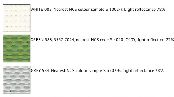 The three colours available for Super G panels