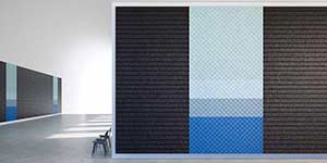 Black and blue coloured textured acoustic wall by Baux.