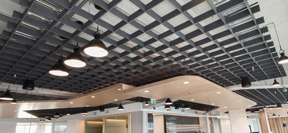Autex acoustic panels on ceiling
