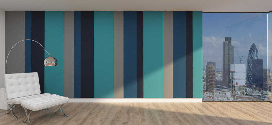 acoustic wall with stretched Vescom fabric