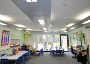 acoustic rafts seen in a classroom environment