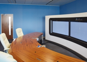 Three sound proofed walls in Huawei telepresence room.