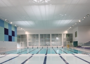 hygroscopic barrisol acoustic panelling in London swimming pool