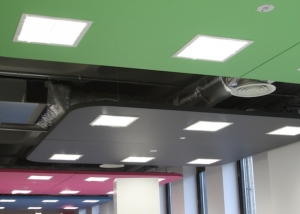 Coloured sound absorbing rafts with recessed lights installed on office ceiling.