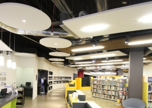 Circular and rectangle sound absorbing ceiling rafts in Southsea library.