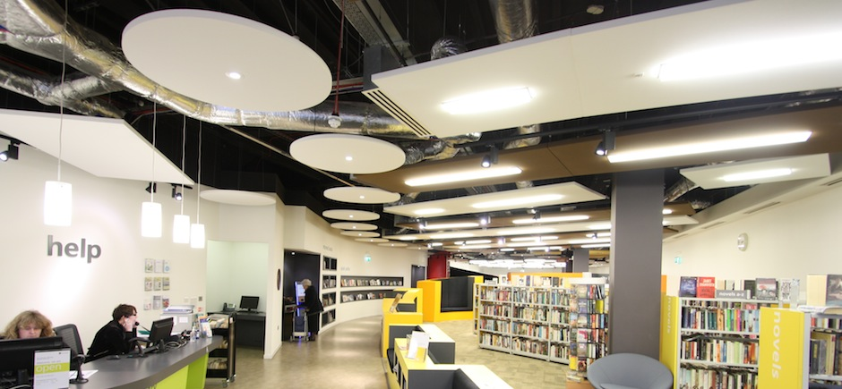Circular and rectangle sound absorbing ceiling rafts in Southsea library