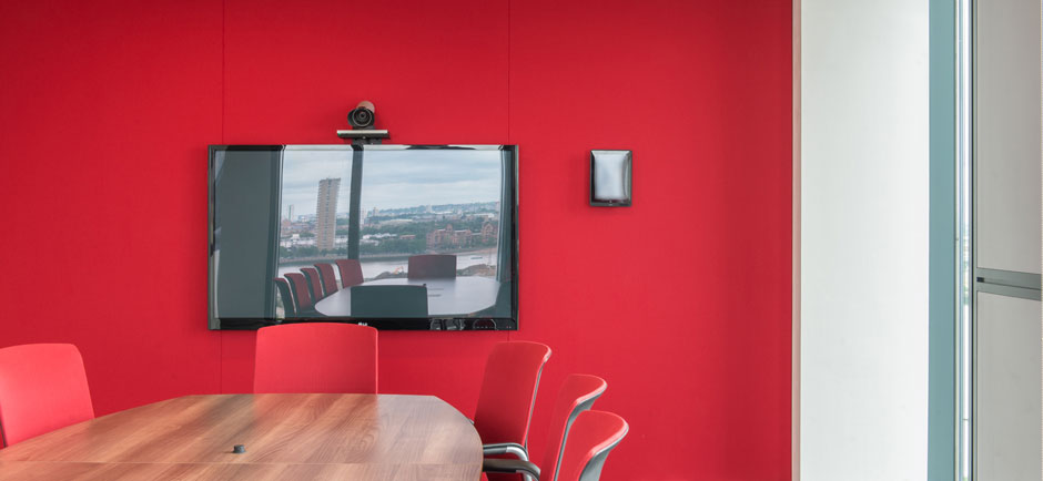acoustic fabric wall in telepresence room