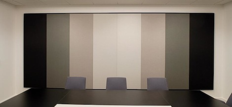 multicoloured acoustic panels in a board room. Black Bedroom Furniture Sets. Home Design Ideas