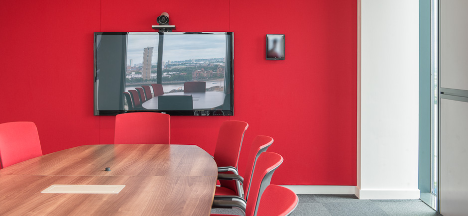 Red Fabric Acoustic Wall