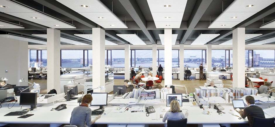 Ecophon master matrix ceiling in open office