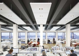 Ecophon master matrix ceiling system in an open plan office
