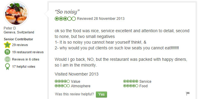 Tripadvisor customer review of poor noise environment in a restaurant.