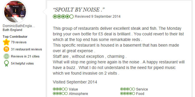 Negative Tripadvisor review complaining noise ruining a meal.