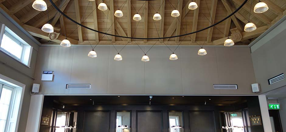 acoustic panels wrapped in fabric in a modern restaurant