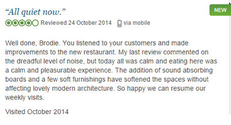 Online review commending Brodie Countryfare Restaurant fixing its acoustic issues