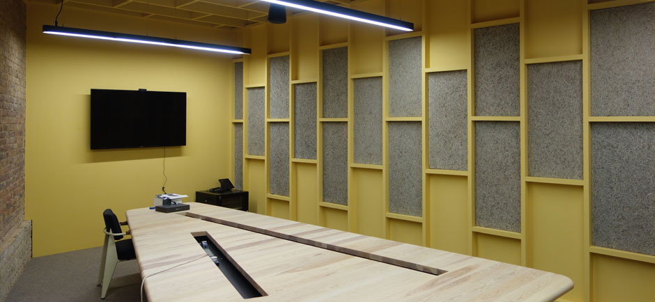 sound absorbing panels in google meeting room
