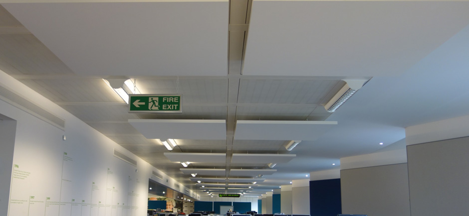 suspended sound absorbing panels in call centre
