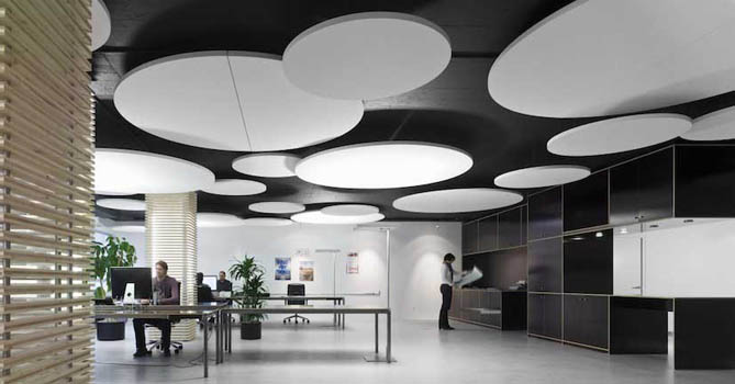 suspended acoustic ceiling used to reduce office noise