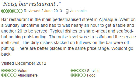 Tripadvisor review discussing high noise levels in a bar