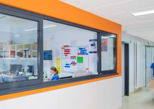 Acoustic panels in hospital corridor