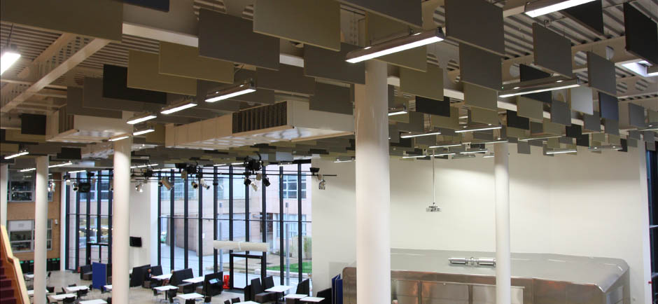 acoustic baffles in university circulation area