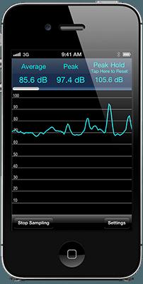 Decibel meter application interface on smartphone