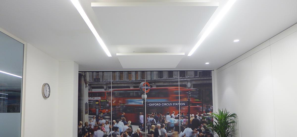 Ceiling acoustic panels in web loyalty meeting room