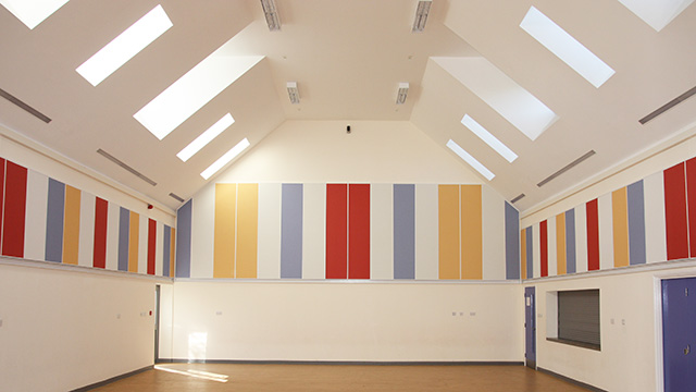 Impact resistant acoustic wall panelling in a gymnasium