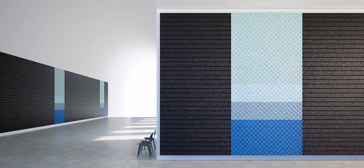 Black and blue acoustic tiles in open plan space