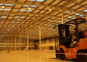 Acoustic panels in large industrial warehouse