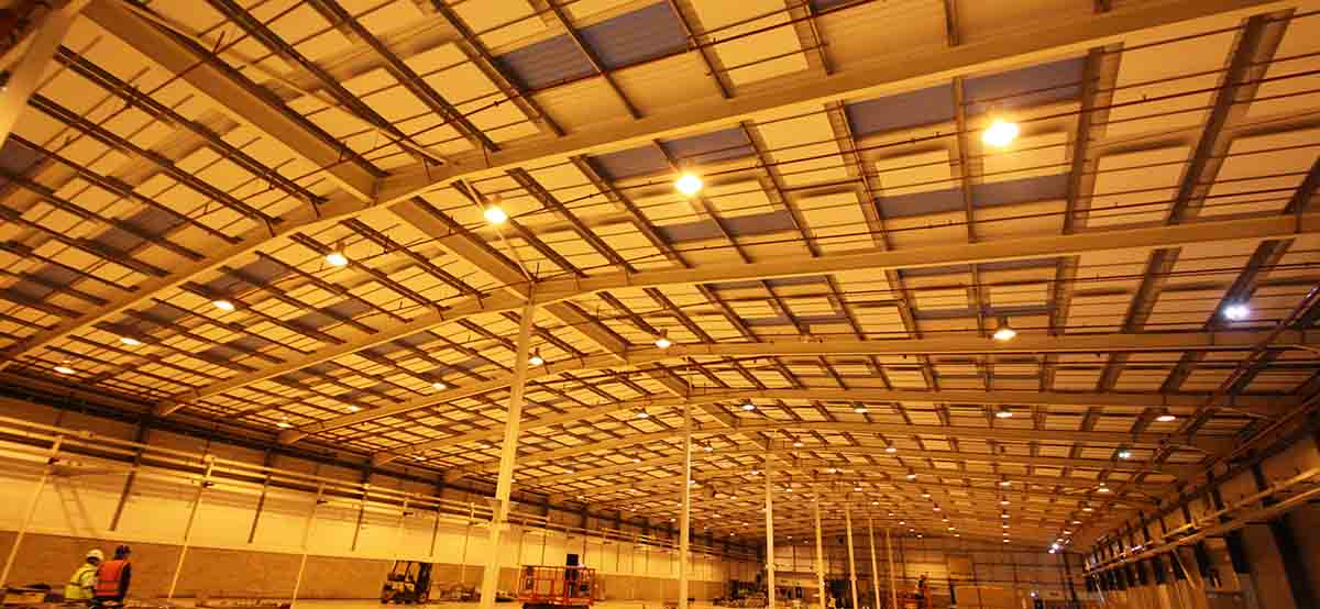 Sound absorbing panels in Anson Packaging warehouse