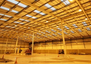 Acoustic rafts installed in large warehouse