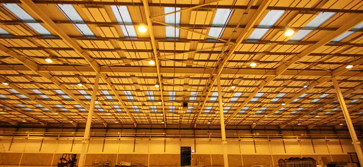 Acoustic panels in Anson Packaging warehouse