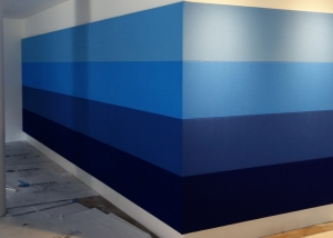 Acoustic fabric wall in blue stripes