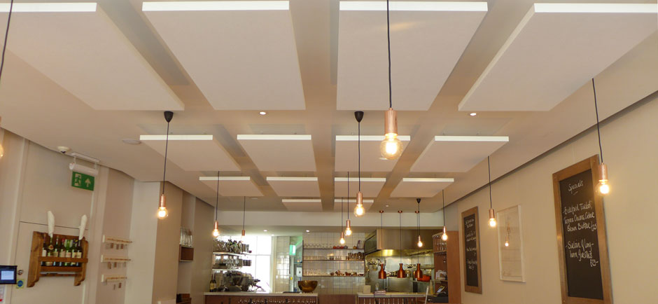 suspended sound panels in Portland restaurant