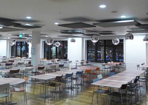 open cafeteria space with acoustic treatments
