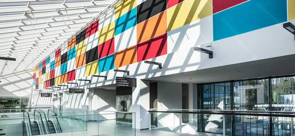 Coloured Akusto wall panels in a shopping centre