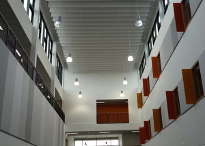 acoustic baffles and panels in school corridor