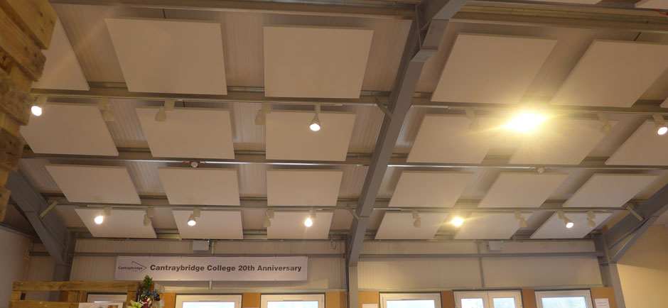 square ceiling panels in cafe