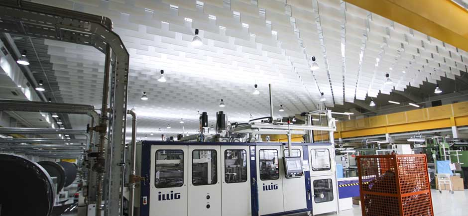 acoustic baffles in large factory
