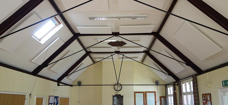 sound absorbing ceiling in village hall