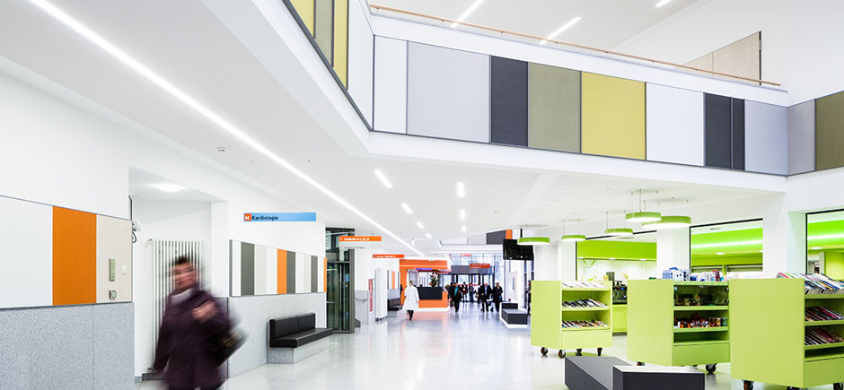acoustic wall panels in hospital corridor