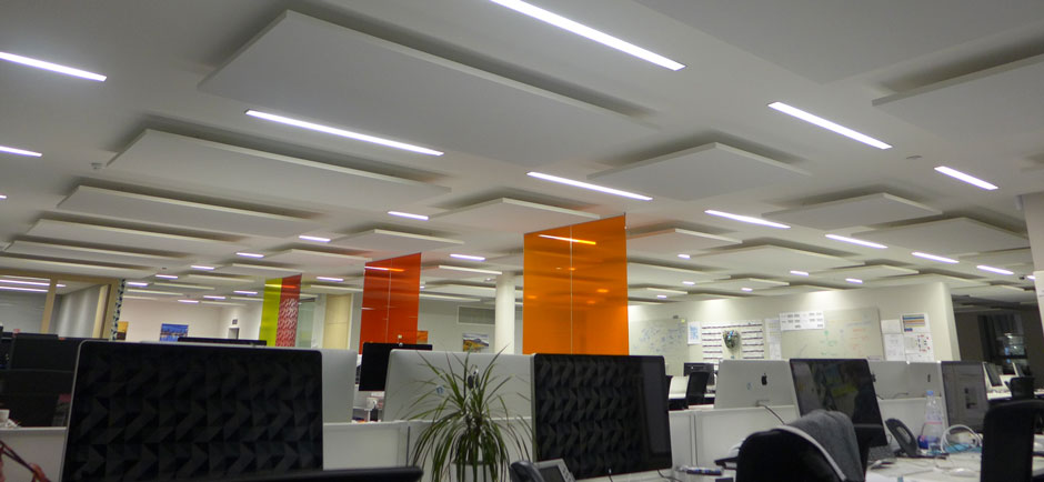 acoustic ceiling panels in modern office