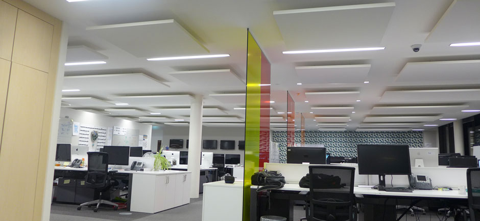 open plan office with sound absorbing boards