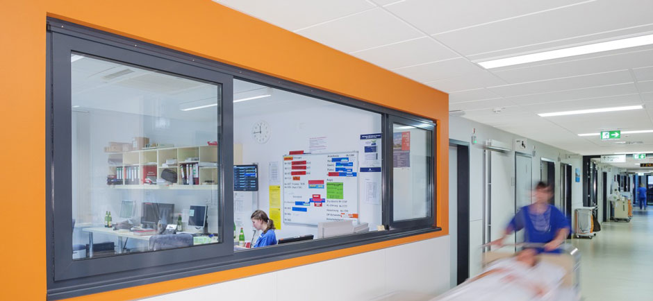 hospital corridor with acoustic ceiling