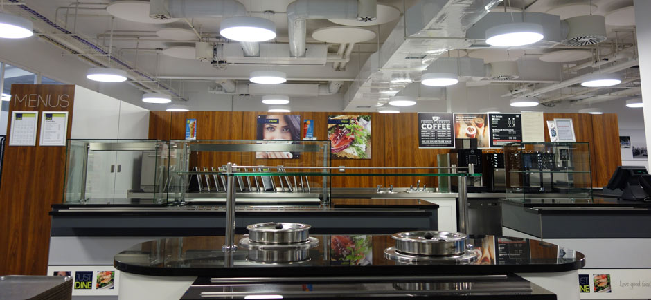 work cafeteria with acoustics installed