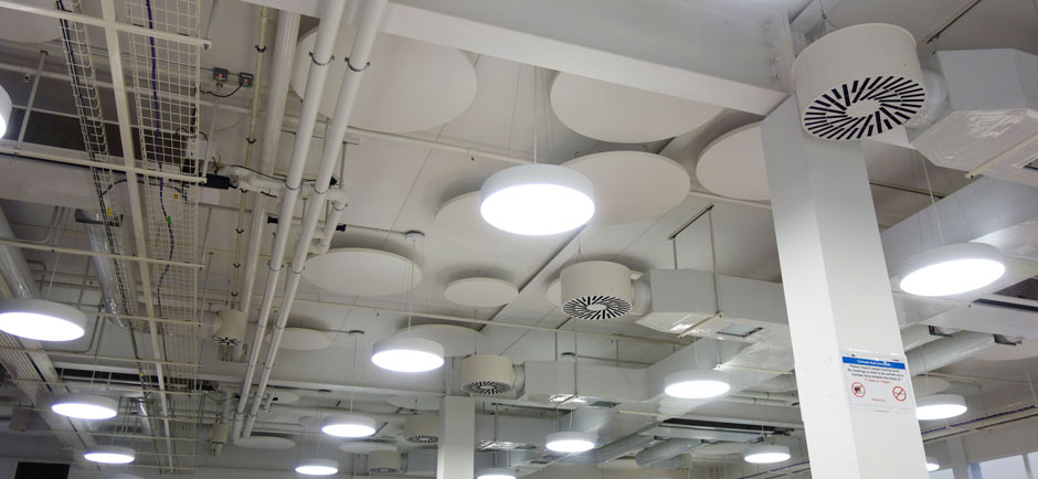 acoustic ceiling panels in work refectory
