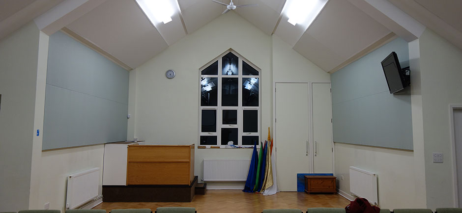 Wall and ceiling panels in small church